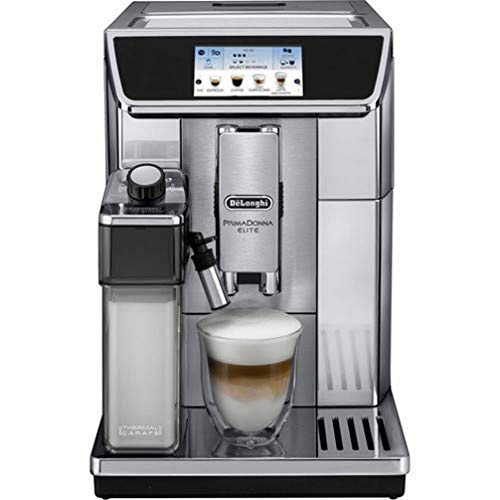 DeLonghi ECAM650.75MS Prima Donna Elite Kaffeevollautomat, Edelstahl, TFT Touch-Screen-Farbdisplay,15 bar Pumpendruck, silber, 470 x 260 x 360 mm