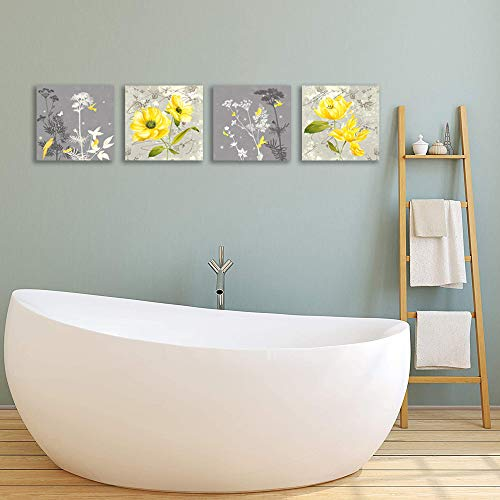 Yellow Flower Wall Art for Bathrooms