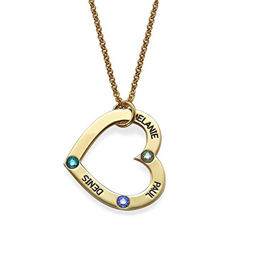 Image of the Engraved Open Heart Shape Pendant Necklace with Birthstones in 18K Gold Plating over Silver - Customized with 3 Any NAMES