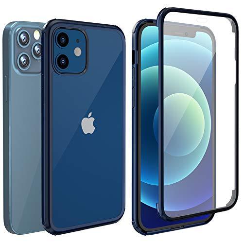 """LOFTer Coque Compatible avec iPhone 12 Pro Coque iPhone 12 avec Protège-écran Intégré en Verre Trempé 360 Degré Full Body Protection Antichoc Transparent Robuste Case pour iPhone 12/12 Pro 6.1"""" Bleu"""