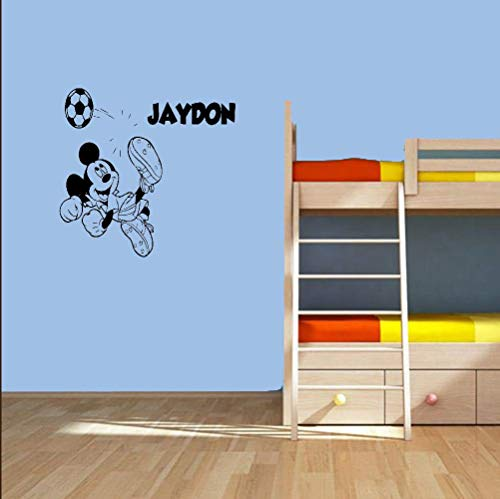 Sticker Mickey Mouse Sticker Mickey Mouse Jouer au Football Sticker Mural Personnalisé Personnalisé Nom Sticker Mural Football Mur Art Enfant