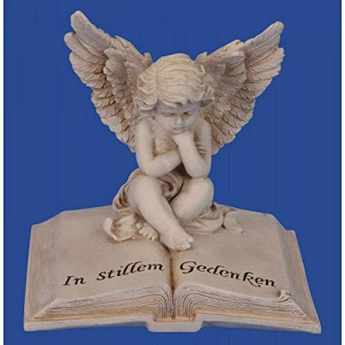 Onbekend engel op boek met spreuk grijs h=17 cm b=17 cm