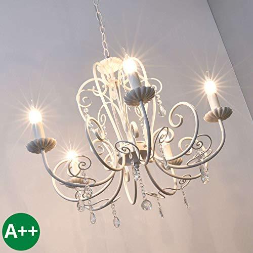 Lindby Kronleuchter 'Sophina' dimmbar (Retro, Vintage, Antik) in Weiß aus Metall u.a. für Wohnzimmer & Esszimmer (5 flammig, E14, A++) - Pendelleuchte, Hängelampe, Lüster, Lampe, Deckenleuchte