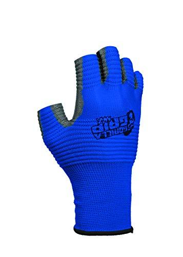 Gorilla Grip Max Fingerlose Handschuhe | Atmungsaktive Fingerlose Arbeits- und Angelhandschuhe mit Gerippter Grifffläche | Farbe: Blau und Schwarz | 1 Paar