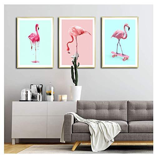 nr Sneaker Flamingo Cone Poster bloem canvas schilderij Nordic Skate muurkunst schilderijen voor woonkamer modern Home-40x60cmx3 frameloos