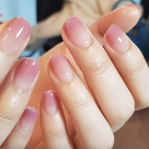 Brishow Coffin False Nails Pink Short Fake Nails Reusable Acrylic Stick on Nails Gradient Full Cover Press on Nails 24pcs for Women and Girls (2)