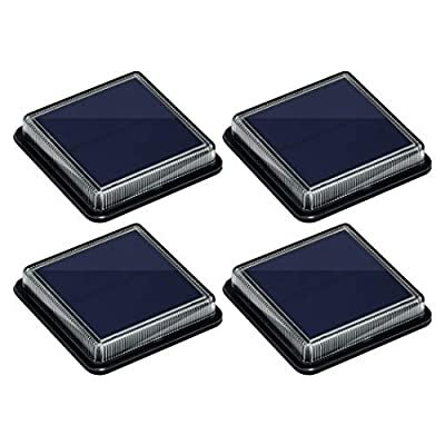 Solar Deck Lights, Ground Driveway Walkway Dock Light Solar Powered Outdoor Stair Step Pathway LED Lamp for Backyard Patio Garden, auto On/Off - Warm White - Square - 4 Pack.