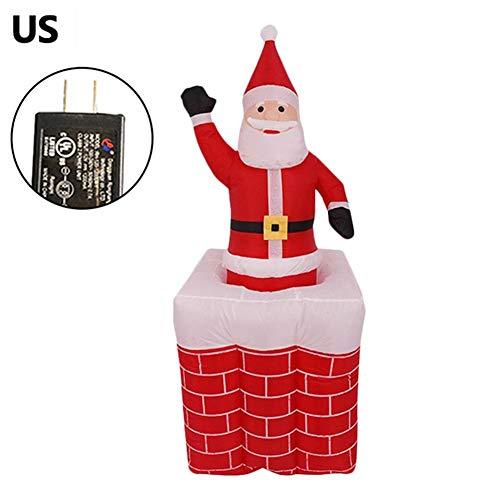 miju Decoración Papá Noel Hinchable 1.6M, Decoración De Figuras Papa Noel, LED Papa Noel DE Decoración Nocturna Interior O Exterior De Navidad, 1.6 M De Altura, con Equipo Inflable (EU 12V) Suitable