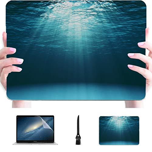 Macbook Air Estuches Azul Marino Superficie del océano Visto Bajo el Agua Carcasa Dura de plástico Compatible Mac Estuches para computadora portátil Accesorios de protección para Macbook con alfombr