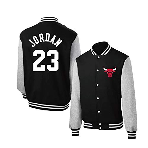 YUNAN Herren Varsity Jacke Chicago Bulls #23 Herbst Basketball Jersey Jacke Baseball Uniform für Sport und Freizeit Gr. M, Schwarz