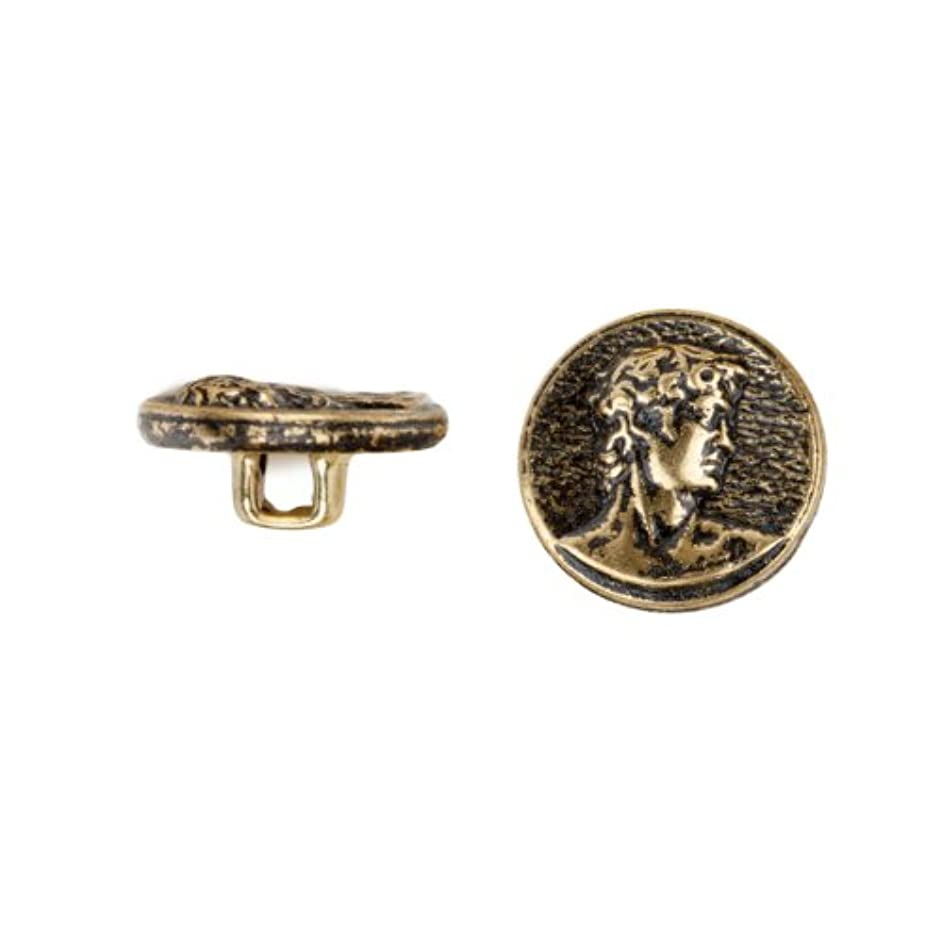 C&C Metal Products 5015 David Metal Button, Size 30 Ligne, Antique Gold, 36-Pack