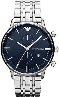 Emporio Armani Men'S Blue Dial Stainless Steel Band Watch Ar1648, Quartz, Analog