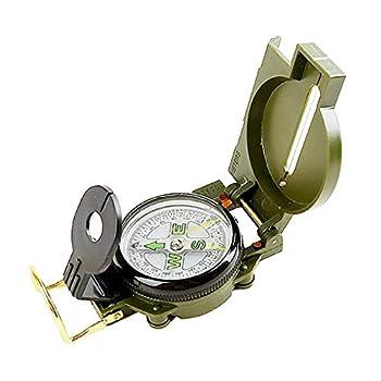Boussole militaire en métal durable multifonctionnelle, étanche aux chocs, pour la chasse, la randonnée, le camping, l'exploration, en alliage de zinc, boucle de suspension vert armée