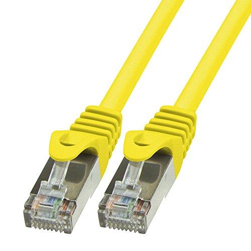 BIGtec LAN Kabel 5m Netzwerkkabel Ethernet Internet Patchkabel CAT.5 gelb Gigabit Geschwindigkeit für Netzwerke Modem Router Patchpanel Switch 2 x RJ45 kompatibel zu CAT.6 CAT.6a CAT.7 Stecker