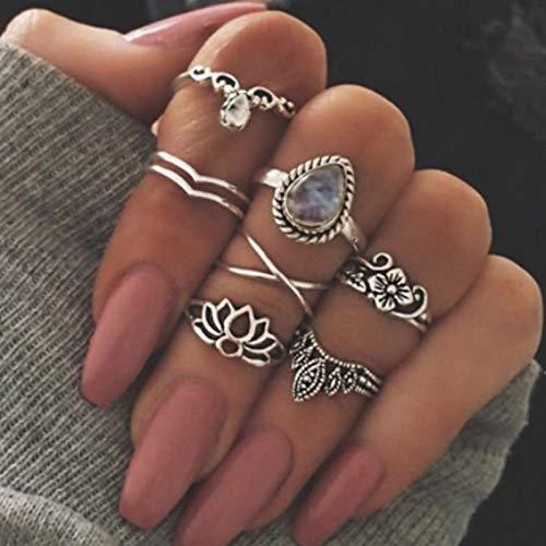 Runmi Juego de anillos para nudillos bohemios de plata con cristal para articulación de nudillos, anillos apilables, accesorios de joyería para mujeres y niñas (paquete de 7)