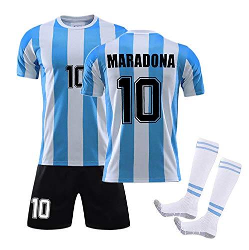 WYTCY Adulto y Niños Set Maradona T Shirt Men, 1986 Argentina Camisa de Fútbol Maradona, Material de Malla de Fibra de poliéster con Calcetines XL