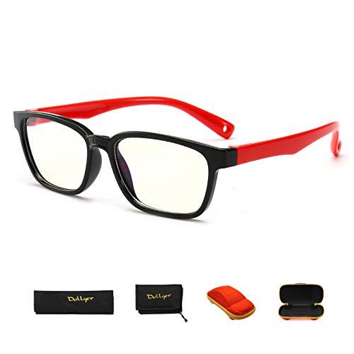 ブルーライトカット メガネ Dollger 子供用ブルーライトカットメガネ 超軽量 ゲームメガネ ゴム製フレーム 400UVカット目の疲れを緩和 度なし 年齢2-10歳 かわいい 車型のメガネケース付き
