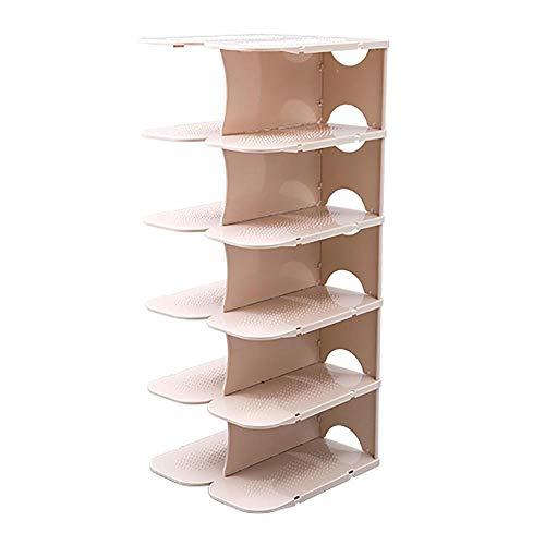 weichuang Zapatero de plástico multicapa, zapatero, zapatero, gabinete, zapatos, gabinete de almacenamiento, organizador de dormitorio, estante de almacenamiento (color: caqui oscuro)
