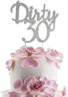 JennyGems - Dirty 30 Cake Topper - Elegant Rhinestone Sparkly Bling Ornament Cake Topper - 30th Birthday Party Decorations - Thirty Birthdays Decor