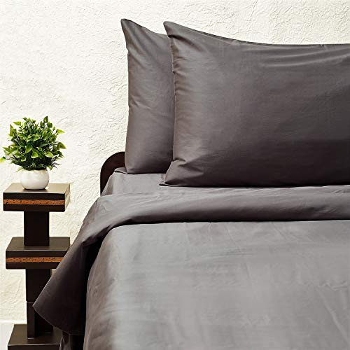Le Naturel-300-Thread-Count Organic Cotton Duvet Cover-300TC Full & Queen Size Dark Gray-Bedding-100% Certified GOTS Organic,Super Soft Sateen Weave,3 Way Protection-Premium Collection