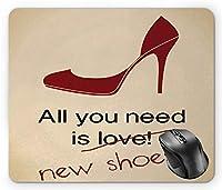 ハイヒール耐久性があるマウスパッド、必要なのは、新しい靴レタリングスティレット面白い言葉ベージュブルゴーニュと黒の耐久性があるマウスパッド
