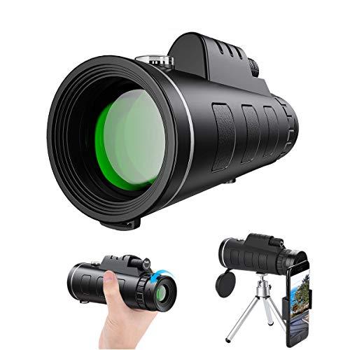 Monokulare Teleskop, HD 40x60 Monokular Wasserdicht monokular-Teleskope beschlagfest mit Smartphone Adapter Stativ für Vogelbeobachtung, Jagd, Wandern Sightseeing, Konzert Ballspiel