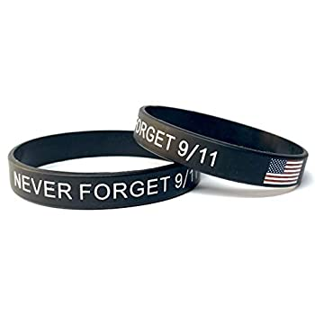 9-11 Never Forget Wristband 911 American Flag Thin Line Silicone Bracelet  2-Pack  by Malayan