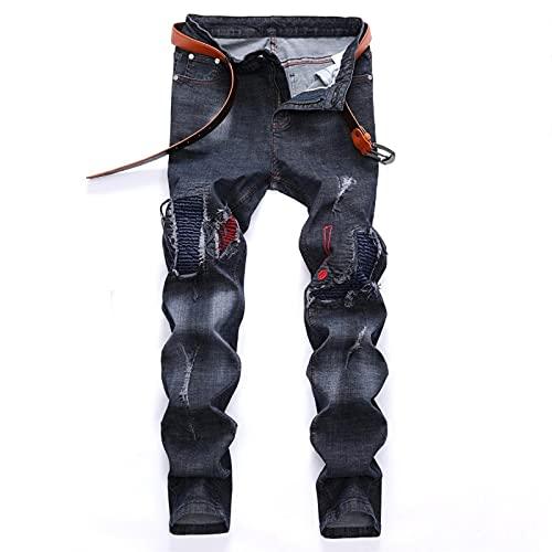 Woovitpl Hombres Bordado Biker Jeans Estirar Masculino Casual Slim Slim Hip Hop Cool Punk Ropa Hombre 38