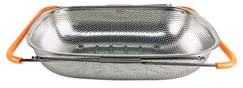 Bo Time - Scolapasta rettangolare in acciaio inossidabile con manici antiscivolo ed estensibili, 10 l, capacità: 10 l