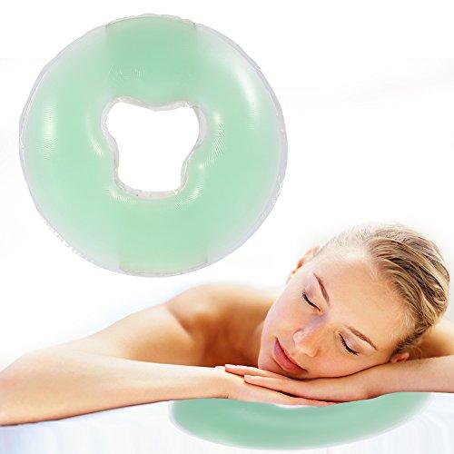Almohada de silicona, almohadilla suave de la cara del masaje para el salón de belleza El cojín fresco del apoyo para la cabeza del cuidado de la piel para la relajación facial(Verde claro)