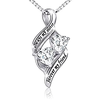 925 Sterling Silver Always My Sister Forever My Friend Double Love Heart Necklace Box Chain 18