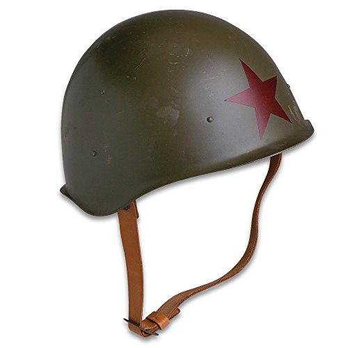 Genuine Soviet Russia/Red Army M52 Helmet - World War II Style Military Surplus - Steel Pot; Red Star; Leather Suspension, Chin Strap - Military History Collections Display Tactical Costume - Used