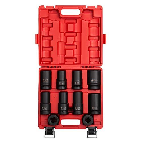 Sunex Tools Sunex 5690A, 1 Zoll Antriebsrad Steckschlüsselsatz, 10-teilig, SAE/Metrisch, tief, dünnwandig, quadratisch, kontrollierte Tiefe, Cr-Mo-Stahl, robuster Aufbewahrungskoffer, 1