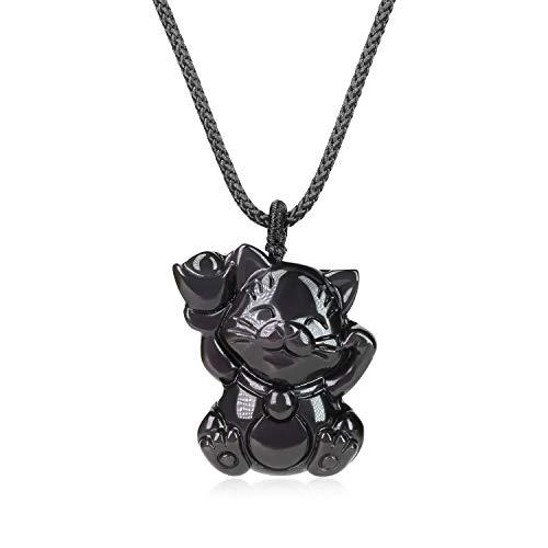 coai Geschenkideen Unisex Halskette mit Glückskatze Anhänger aus Schwarzem Obsidian Talisman Anhänger Amulett Halskette
