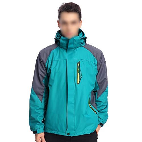 Chaqueta cálida de invierno Naranja / verde de los hombres de la chaqueta de esquí de la snowboard 3-en-1 a prueba de viento caliente de la capa del invierno impermeable viaje prendas de vestir exteri