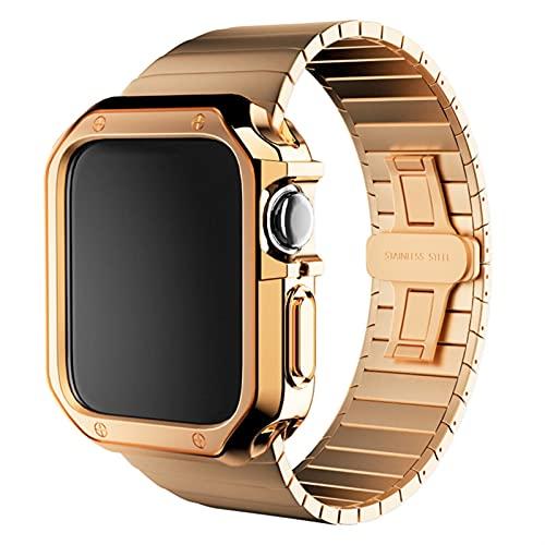 GZMYDF Correa de Acero Inoxidable + Estuche para el Reloj de Apple 6 SE 5 4 3 2 Pulsera 40mm 44mm 38mm 42mm Banda de Banda de Metal Cubierta de Marco de parachoque