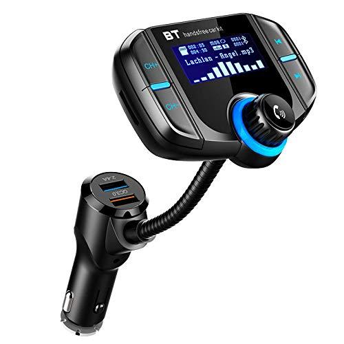 Casinlog Transmisor Bt70 FM Radio para Coche Kit Dual USB Qc3.0 Adaptador InaláMbrico para Cargador de Reproductor de Mp3 Sintonizador de Manos Libres BT