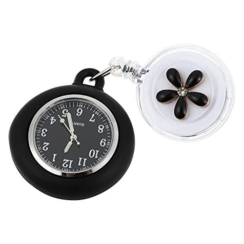 ibasenice Relojes de Enfermera Reloj Digital con Funda de Silicona Margarita Flor Reloj de Bolsillo Dibujo Clip- on Colgante Solapa Reloj de Enfermera para Médico Enfermeras Niños Y Mujeres