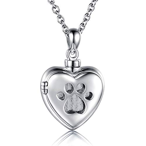 MANBU 925 Sterling Silver Cremation Jewelry for Pet Ash - Memorial Ash Pendant Urn Necklace for Dog Cat Women Remembrance Keepsake Gift for Loss of Loved Furry Friend (pet urn Locket Necklace)
