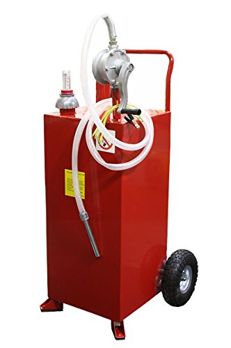 9TRADING Pro 30 Gallon Gas Fuel Diesel Caddy Transfer Tank Container with Rotary Pump Auto