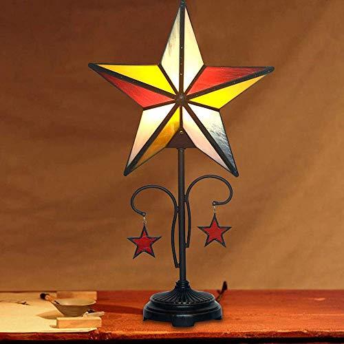 Palm kloset Lámpara de Mesa lámpara de Mesa Estilo Boda vidriera Luminosa Vintage Estrella de Cinco Puntas lámpara de cabecera colección decoración w30 h53cm