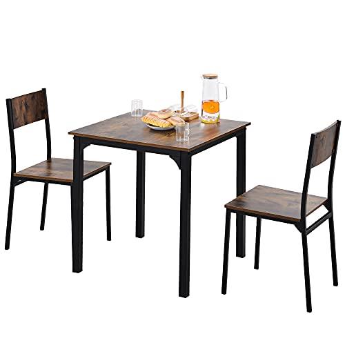 Juego de mesa de comedor con 2 sillas para balcón, comedor y salón, color marrón