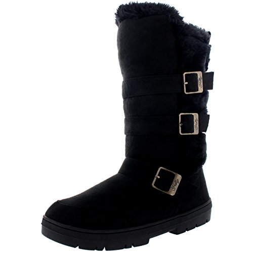 Holly Womens Waterproof Winter Long Shoe Snow Mid Calf Triple Buckle Boots - Black/Black - US12/EU43 - BA0465