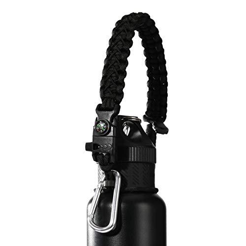 QeeLink Wasserflaschengriff Kompatibel mit SHO, Chilly's, Swell, MIRA, Simple Modern und Anderen Cola-förmiger Flaschenträger | Halter – Paracord Griff