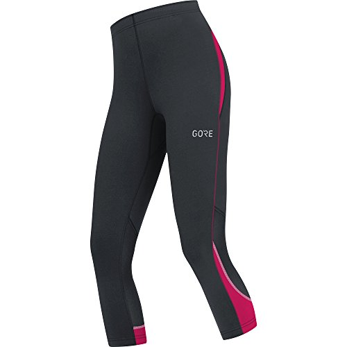 GORE WEAR Atmungsaktive, 3/4-lange Damen Laufhose, Gore R3 Women 3/4 Tights, Größe: 38, Farbe: Schwarz/Pink, 100079