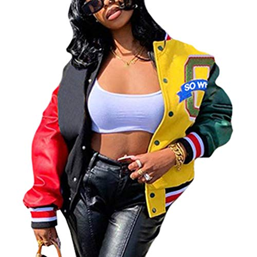 Shownicer Bomberjacke Damen Sweatjacke Frauen College Sweat Jacket Reißverschluss Oversized Patchwork Jacke Vintage Druck Jacken Baseball Mantel Gelb XS