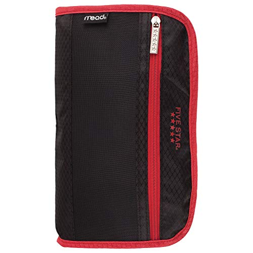 Five Star Pencil Pouch, Pen Case, Fits 3 Ring Binders, Xpanz, Black/Red (50206CE8)