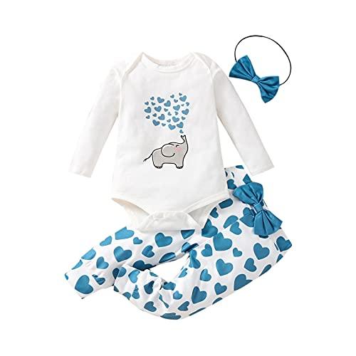 Tops y Pantalones de Bebé Niña Traje de Mono de Manga Larga con Letras de Elefante Lindo y Pantalones Largos de Corazón con Diadema (Azul, 0-3 Meses)