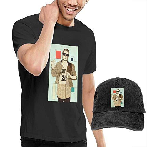 Baostic Herren Kurzarmshirt Men Macklemore Classic Short Sleeve Tee&Washed Dyed Cotton Baseball Cap Hats
