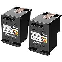 Cartuchos de Tinta 301XL remanufacturados más Bigger para Cartuchos de Tinta HP 301XL Compatible con HP DeskJet 1050 1510 2540 3000 3050, HP Envy 4500 5530, HP OfficeJet 2620 4630 (2 Black Pack)